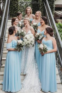 Can't stop imagining your dream wedding with your favorite sky blue color? Kennedy Blue's bridesmaid dresses in the color 'Sky' blue might just be what you're looking for! We love how chic & beautiful this bridal party looks in mismatched styles. Find your perfect bridesmaid dresses online at Kennedy Blue! | blue wedding ideas | sky blue wedding inspo | sky blue bridesmaid dress | summer wedding | elegant bridesmaid gown | blue mix and match dresses | light blue mismatched bridesmaids Light Blue Bridesmaid Dresses, Affordable Bridesmaid Dresses, Bridesmaid Dresses Online, Wedding Dresses, Bridesmaids, Sky Blue Weddings, Summer Wedding, Dream Wedding, Party Looks