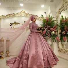 Private Collection Wedding Dress Inspirational Dust Pink islamic Muslim Arabian Wedding Dress with Long Sleeves High Neck Ball Gown Dubai Kaftan Arabic Bridal Gowns Satin 2019 Muslim Wedding Gown, Muslimah Wedding Dress, Muslim Wedding Dresses, Muslim Brides, Luxury Wedding Dress, Formal Dresses For Weddings, Bridal Lehenga, Bridal Gowns, Bridal Party Shirts