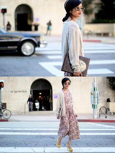 Downtown trot (by Olivia Lopez) http://lookbook.nu/look/2691461-The-Caravan-Sunglasses-Les-Fleurs-Dress-Asos