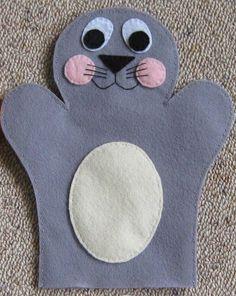 Handpop zeehond, vilt