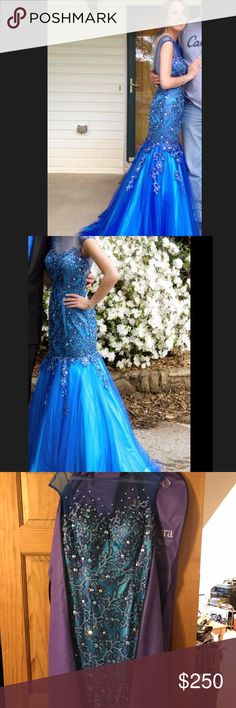 Studio 17 Prom dress This dress is beautiful and in great condition! Only worn once. It has dimensional color based on the lighting and iridescent gems. In the sun it looks more like a royal blue as opposed to inside where it looks more turquoise. Studio 17 Dresses Prom