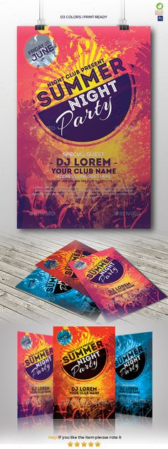 Summer Night Party Flyer Template PSD
