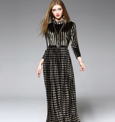 a9e3c8900 Temperament Standing Collar Velvet Pleated Long Style Three Quarter Sleeve One  Piece Dress