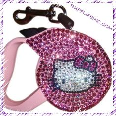 Swarovski crystal hello kitty pet lead. Available in pink & black. Use coupon code PAWS20 for 20% off @ Rufflifeinc.com