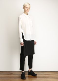 Y-3 White Sheer Button Up