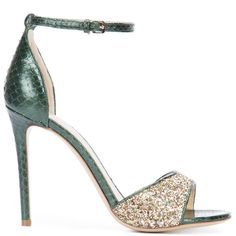 Monique Lhuillier glitter sandals ($850) ❤ liked on Polyvore featuring shoes, sandals, heels, green, sapato, green heeled sandals, monique lhuillier shoes, green glitter shoes, leather footwear and glitter shoes
