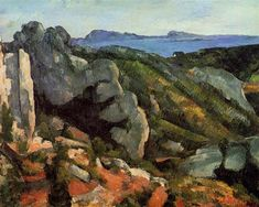 Rocks at L'Estaque Artist: Cezanne, Paul Cézanne (French Post-Impressionist Painter. Demonstration of colour perspective, with warm colours (yellow to red) in the foreground and cool blue receding into the distance. Cezanne Art, Paul Cezanne Paintings, Aix En Provence, Hieronymus Bosch, Pierre Auguste Renoir, Oil Painting Reproductions, Henri Matisse, French Artists, Art World