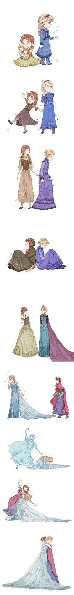 Elsa and Anna through the years