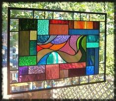 **PICTURE IN PICTURE** Stained Glass Window Panel (Signed and Dated)