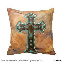 Turquoise and Brown Cross on Leather Print Throw Pillow