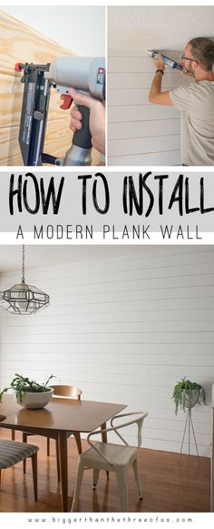 DIY Modern Plank Wall by Bigger Than The Three Of Us