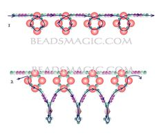 Free pattern for necklace Flirt - 2. U need:  pearl beads 4-5 mm  bicone beads 4 mm  seed beads 11/0