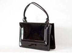 Vintage Mod Black Vinyl Handbag