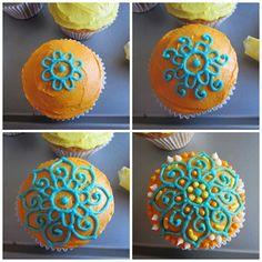 Step by step intricate decorating Baking Cupcakes, Cupcake Cookies, Cupcake Recipes, Mehndi Cake, Henna Mehndi, Bollywood Cake, Galletas Decoradas Baby Shower, Tolle Cupcakes, Beautiful Cupcakes