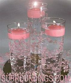 Small Cylinders & floating Beads & floating candle centerpiece