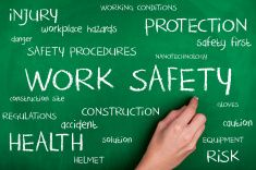 Work Safety Word Cloud with Hard Hat Shape
