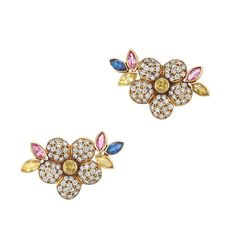 Pair of Gold, Diamond and Multicolored Sapphire Flower Earrings