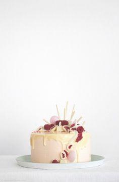 ... vanilla cake with lychee buttercream, raspberries, candied roses and white chocolate ganache ...