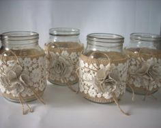 Rustic Wedding Burlap Jar Lace and burlap by foryourrusticwedding