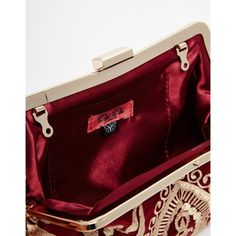 Chi Chi Clip Top Clutch Bag in Red with Gold Embroidery (74 AUD) ❤ liked on Polyvore featuring bags, handbags, clutches, gold chain purse, embroidered purses, kiss lock purse, chain handbags and red purse