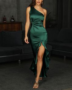One Shoulder Twisted Ruffles Evening Dress - 2020 New Prom Dresses Fashion - Fashion Of The Year Junior Bridesmaid Dresses, Prom Dresses, Wedding Dresses, Lace Dresses, Midi Dresses, Boho Dress, Dress Up, Bodycon Dress, Girls Formal Dresses