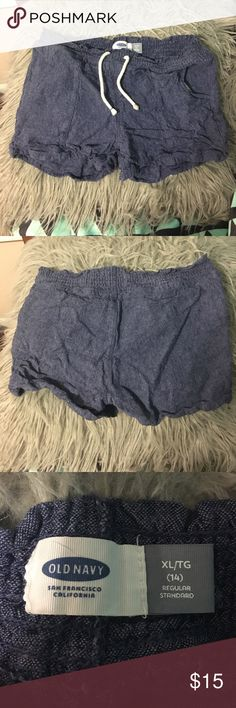 Blue stretch band comfy shorts Blue comfy elastic band stretch shorts and girls size 14/extra large. In like new condition Old Navy Bottoms Shorts