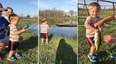 Эмоции этого маленького рыбака, поймавшего рыбу на игрушечную удочку не описать словами - Беседка - форум безграничного общения