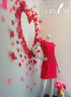 Valentines Hearts at Tropic Of Linen. Window Display at TropicOfLinen. Fuscia, Red, Pink. Linen dress.