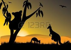 outback: single koala two kangaroo and joey in the sunset Silhouette Painting, Animal Silhouette, Face Painting Designs, Dot Painting, Beach Canvas Paintings, Sunset Canvas, Australia Tattoo, Australian Christmas, Australian Animals