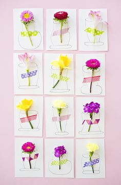 Pretty 3D Flower Handmade Cards. Cute DIY cards kids can make for Spring, Easter or Mother's Day.