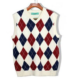 Mens 100% Cashmere Sweater Brown Tan Argyle V-Neck Peter Millar XL ...