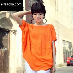 Womens Loose Off-Shoulder Round Collar Short Sleeve Tshirt orange