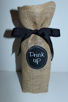 Burlap labeled wine bag by HaviaDesigns on Etsy, $9.00