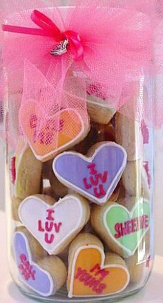 Valentine: Homemade cookies, a jar, and some tulle!