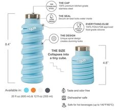 que Bottle, A Stylish Collapsible Silicone Water Bottle That Can Shrink Down to Half Its Size