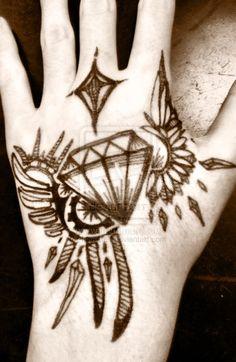 Diamond Diamond Diamond Diamond Diamonds~ >u< All Freehand - Sharpie tattoo Winged Diamond Tattoo -Sharpie- Hand Tattoos, Sharpie Tattoos, Time Tattoos, Body Art Tattoos, Tribal Tattoos, Tattoos For Guys, Cool Tattoos, Tattoo Drawings, Tattoo Designs And Meanings