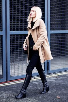 Bershka Camel Long Coat, Zara Black Jeans, Duo Boots Black Leather Long Boots