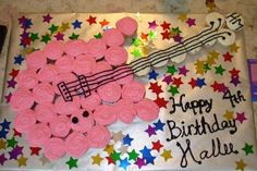 Guitar shaped Cupcake cake (hannah montana-inspired) - COOKING - My daughter had a Hannah Montana party for her birthday and wanted a guitar cake. I knew I'd never be able to shape an actual cake into a gui Rockstar Party, Rockstar Birthday, Dance Party Birthday, First Birthday Parties, First Birthdays, Birthday Ideas, Birthday Cakes, 11th Birthday, Birthday Board