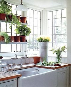 love the old-fashioned apron sink, and the four over five glass pane windows