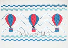 Hot Air Balloon Faux Smocking Embroidery por BelliboosDesigns