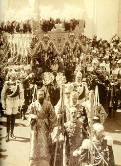 Tsar Nicholas II leaving the Cathedral after, his Coronation.