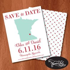 New to VeronicaFoleyDesign on Etsy: Minnesota Save the Date cards DEPOSIT State Save the Date Cards Printed Save the Date Cards Wedding Save the Date Cards (25.00 USD)