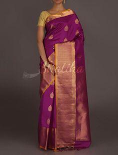 Sadhana Purple Splendor Leaf Bootis Heavy #GadwalRealZari #SilkSaree