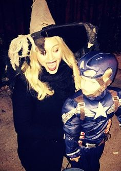 22 Celeb Costumes That Have Us Counting Down to Halloween - HILARY DUFF & LUCA COMRIE -  As a witch and Captain America in 2014.