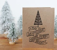 Recycled Christmas Card Set of 20 - Merry and Bright Illustrated Holiday Cards on Etsy, £22.79