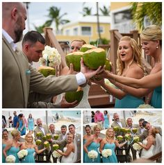 caribbean beach wedding with coconuts