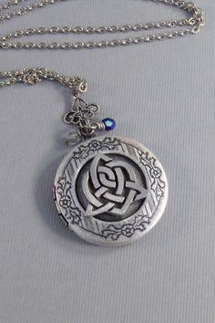 Sisters Heart,Locket,Silver Locket,Celtic Locket,Sisters Knot,Birthstone,Antique Locket,Celtic Knot,Irish,Shamrock.sister valleygirldesign