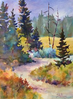 watermedia paintings by Calgary based fine artist Sharon Lynn Williams Watercolor Painting Techniques, Watercolor Landscape Paintings, Watercolor Images, Watercolor Trees, Watercolor Artists, Nature Paintings, Abstract Watercolor, Watercolour Painting, Landscape Art