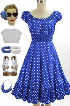 50s Style Blue & White POLKA Dot PLUS SIZE Peasant Top On/Off The Shoulder Dress #PrivateManufacturer #Sundress #Casual