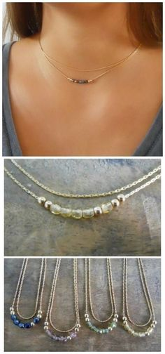 A delicate set that is made of 2 thin snake chain necklace.